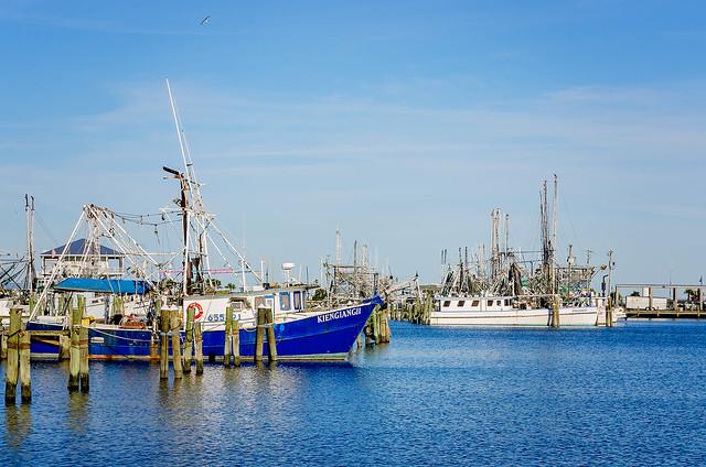 Shrimp boats docked at Pass Christian Harbor in Pass Christian Mississippi