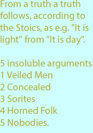 7-1  insoluble arguments- the Veiled Men, the Concealed, Sorites, Horned Folk, the Nobodies.