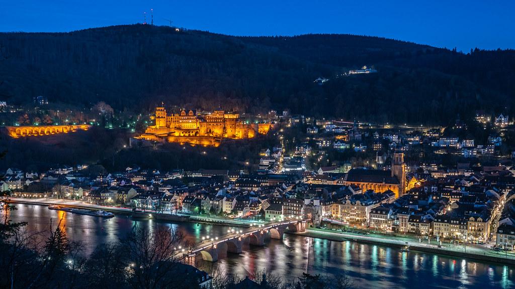 Heidelberg city lights from Philosophenweg
