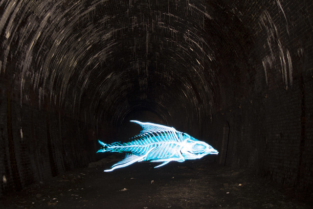 Light painting in Diggle Tunnel