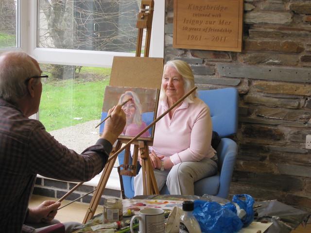 John Weston paints Daphne's portrait at Kingsbridge Library