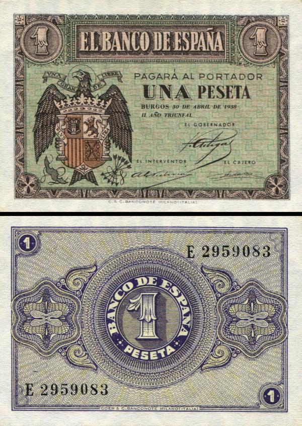 1 Peseta Španielsko 1938, P108a