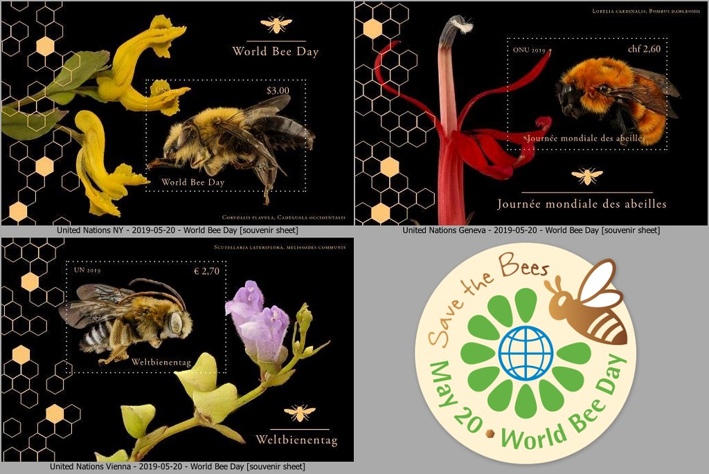 United Nations Postal Administration (New York/Geneva/Vienna) - World Bee Day (May 20, 2019)