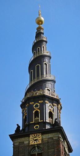 Spiral steeple of a church in Copenhagen, Denmark