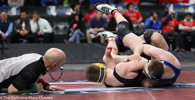 182AA 1st Place Match - Patrick Kennedy (Kasson-Mantorville) 46-0 won by fall over Zachary Peterson (Perham) 50-2 (Fall 1:54) - 190302BMC4985
