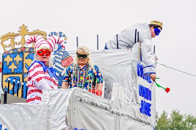 Mardi Gras float at Krewe de la Dauphin Mardi Gras parade in Dauphin Island, Alabama