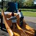 Boys must climb up slides
