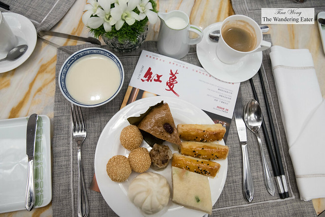 My breakfast plate with coffee and fresh soy milk