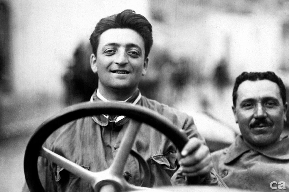 9. Enzo Ferrari at the Targa Florio in 1920. - The car is an Alfa Romeo 40-60 HP Racing Type