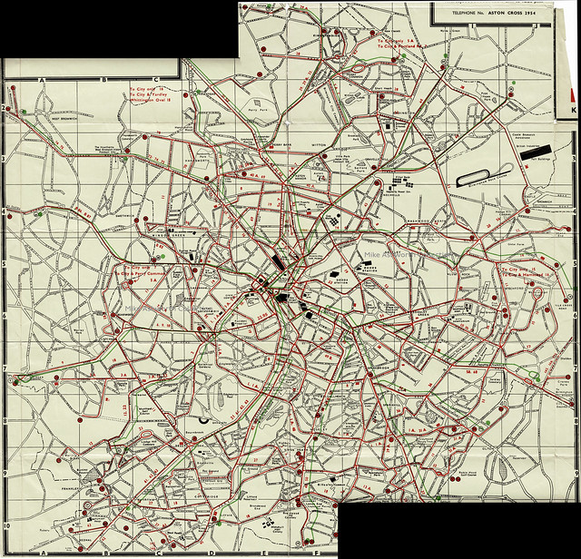 Birmingham City Transport - map of omnibus services, c1959/60 (stiched image thanks to British Letter Press)