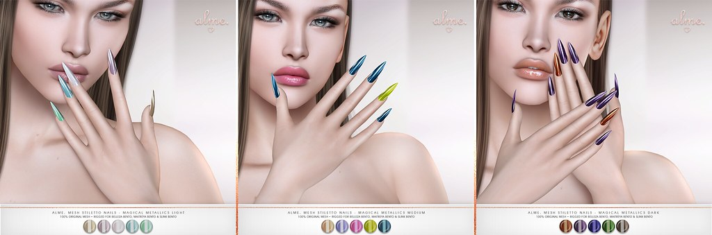 "Alme. in Second Life for Belle. Events ""Alme Mesh Stiletto nails//Magical Metallics"" ♥"