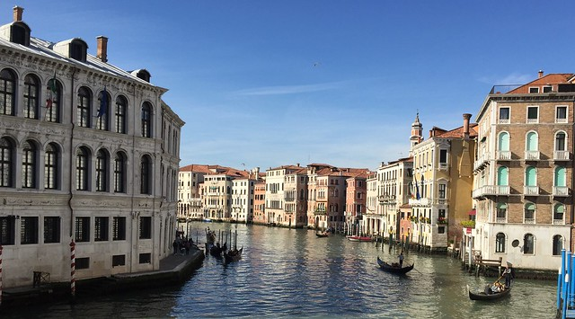 The Grand Canal from The Rialto Bridge in Venice, Italy.