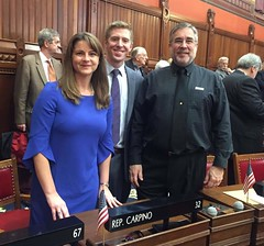 Rep. Carpino with Portland local delegation on Opening Day