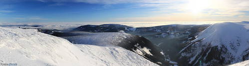 view panorama snow winter mountains hills sky bluesky sunset