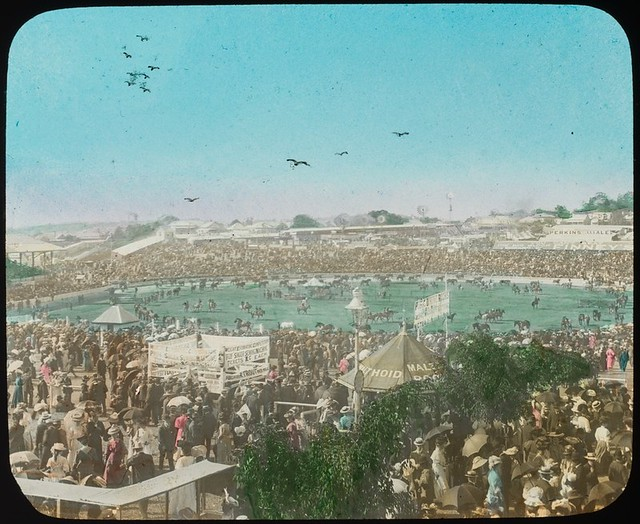 Large crowds in attendance at the main arena at the Exhibition grounds, Brisbane, Queensland, ca. 1910