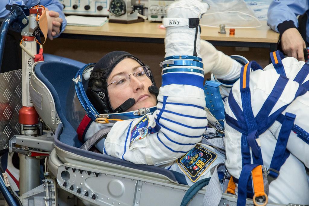 Christina Koch of NASA undergoes a Sokol launch suit press… | Flickr