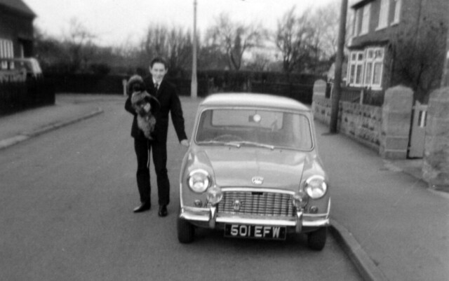 IMG_0011 Geoff Spafford RIP old B&W Family photos Austin Mini 501EFW at 16 Priory Crescent Ashby Scunthorpe Lincs with MGS and Perry the Poodle