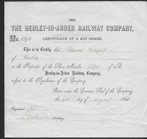 Henley in Arden Railway share certificate 1865 | by ian.dinmore