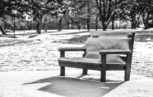 snow winter bench bw monochrome topaz