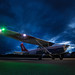 A Cessna aircraft of the Michigan Wing Flight Academy of the Civil Air Patrol prepares for a night takeoff. Photo // Maj. Robert Bowden, Civil Air Patrol