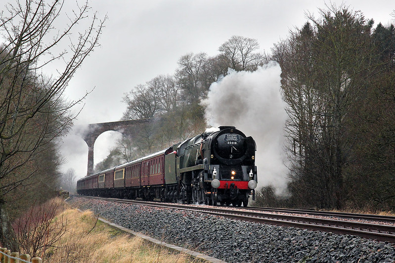 Bulleid Pacific No.35018 'British India Line' works the returning Winter Cumbrian Mountain Express past Newbiggin. A location that seems to deliver a good result whatever the weather.