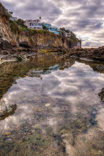 california hdr lagunabeach nikon nikond5300 outdoor pacificocean piratetower victoriabeach beach cliff clouds coast geotagged house houses ocean palmtree reflection reflections rock rocks sea shore sky tidepool tidepools water