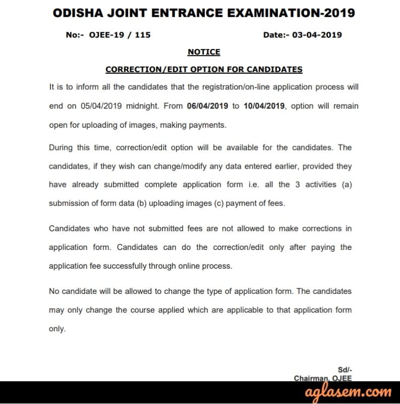 OJEE MBA  Form Correction 2019