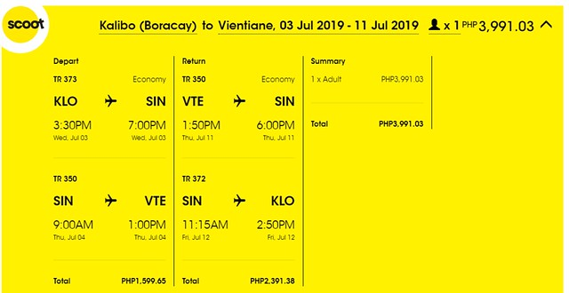 Scoot Airlines Kalibo to Vientiane Roundtrip Promo