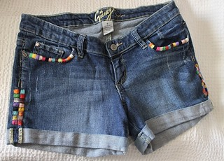 One Of A Kind/ Hand Embroidered/Hippie Boho/ Women's Vintage Stretch Denim Shorts Size 9 | by shopthegasstation