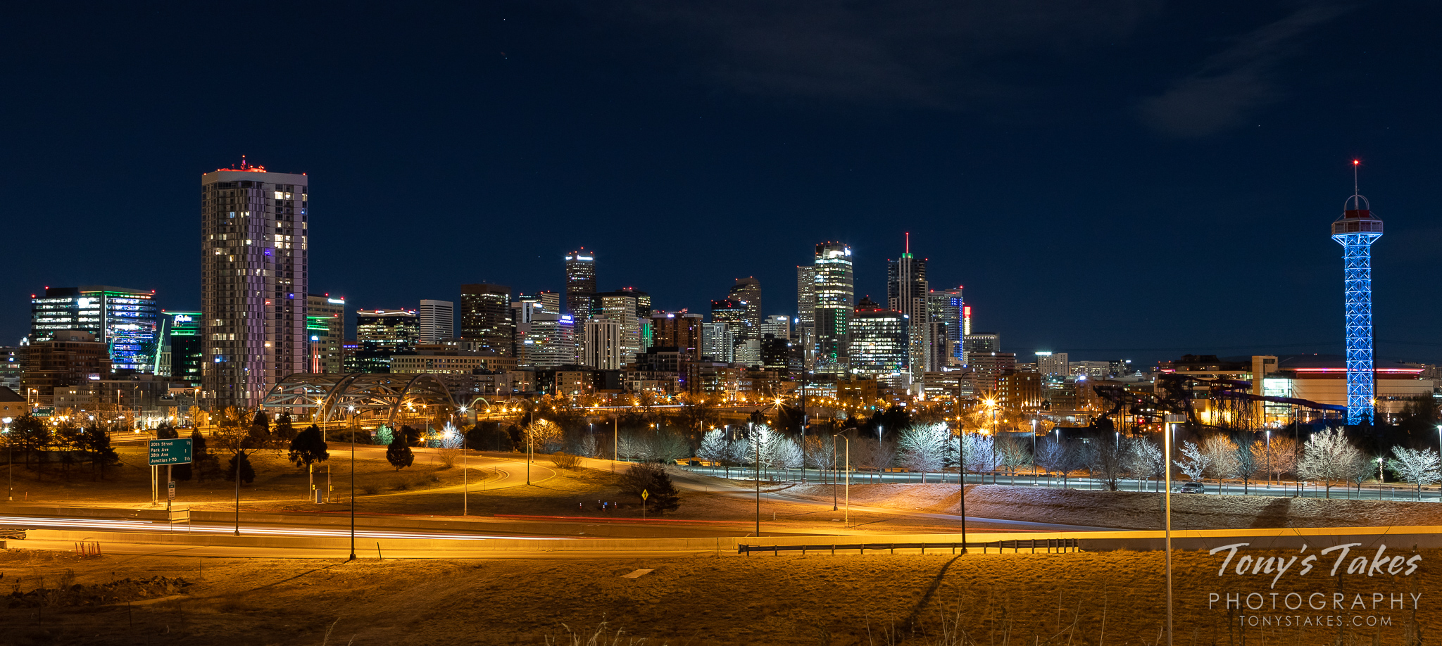 The skyline of Denver, Colorado at night. (© Tony's Takes)