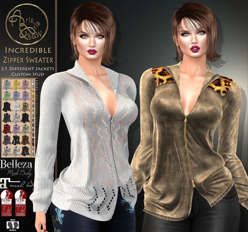 PROMO99L$-LIMITED***ArisArisB&W~Incredible Zipper Sweater~CUSTOM HUD