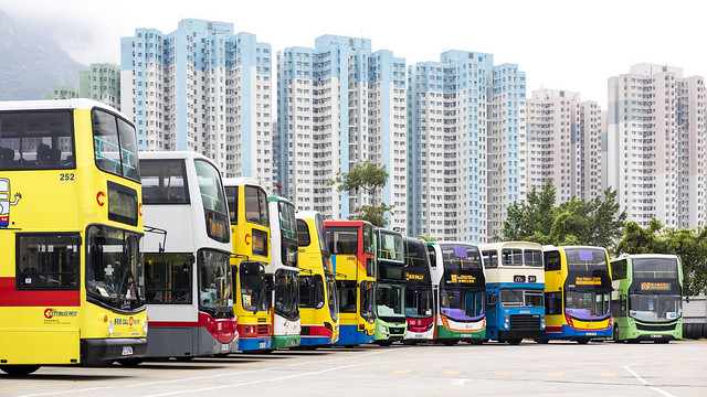 Combination of double-deck buses in Bus Rally 2019 Hong Kong