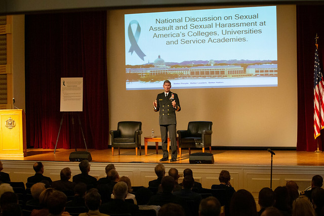 Vice Adm. Walter E. Carter Jr. delivers remarks during the National Discussion on Sexual Assault and Sexual Harassment at America's Colleges, Universities and Service Academies.