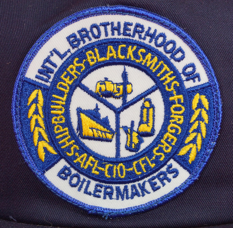 RD17136 1980 Boilermakers Iron Ship Builders Blacksmiths Forgers & Helpers Local 568 Tacoma Brass Belt Buckle Anacortes DSC09420