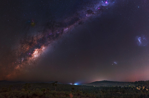 milkyway skytracker ioptron cosmology southernhemisphere cosmos sullivan rock jarrahdale forest southern westernaustralia australia dslr long exposure rural nightphotography nikon stars astronomy space galaxy astrophotography outdoor milky way core great rift 50mm d5500 panorama stitched mosaic nature landscape msice hoya red intensifier didymium filter magellanic clouds large small carina nebula airglow