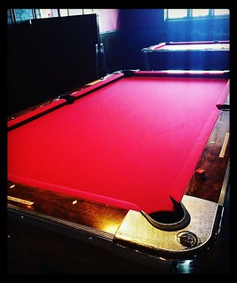 Newly felted pool tables 🙌 Ooooh yeah! • #sofreshandsoclean #billiards #feltup #playinggames #happyhour #shoot #craftcocktails #silentdisco #potions #craftbeer #noho #northhollywood | by theotherdoor