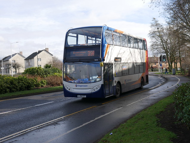 Stagecoach ADL Trident Alexander Dennis Enviro 400 AJ58PZT 19316 operating service 39 to Glenrothes Newcastle at Glenrothes on 20 February 2019.