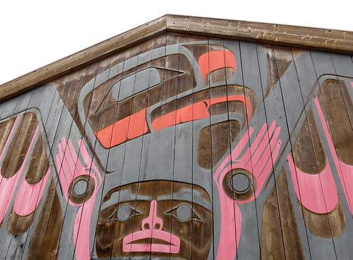 Mural on the exterior of a gallery specializing in Native Indian art in Tofino on Vancouver Island