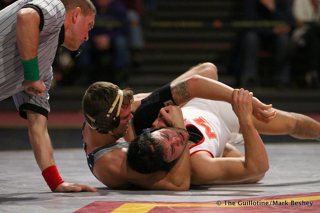 174: #12 Devin Skatzka (Minnesota) tech fall Josh Ugalde (Maryland) 17-2, 7:00. 190210BMK0074