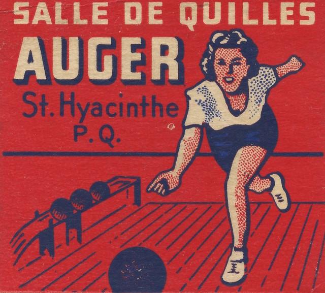 Carton d'allumettes de la salle de quilles Auger, Saint-Hyacinthe, Québec