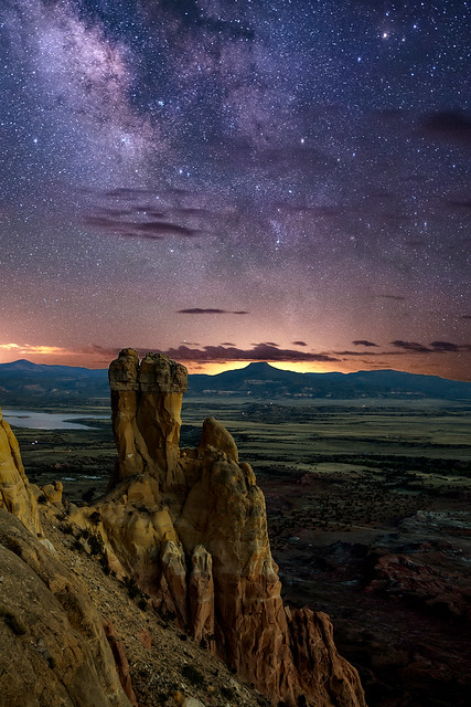 Chimney Rock, the Pedernal, and the Milky Way at Ghost Ranch