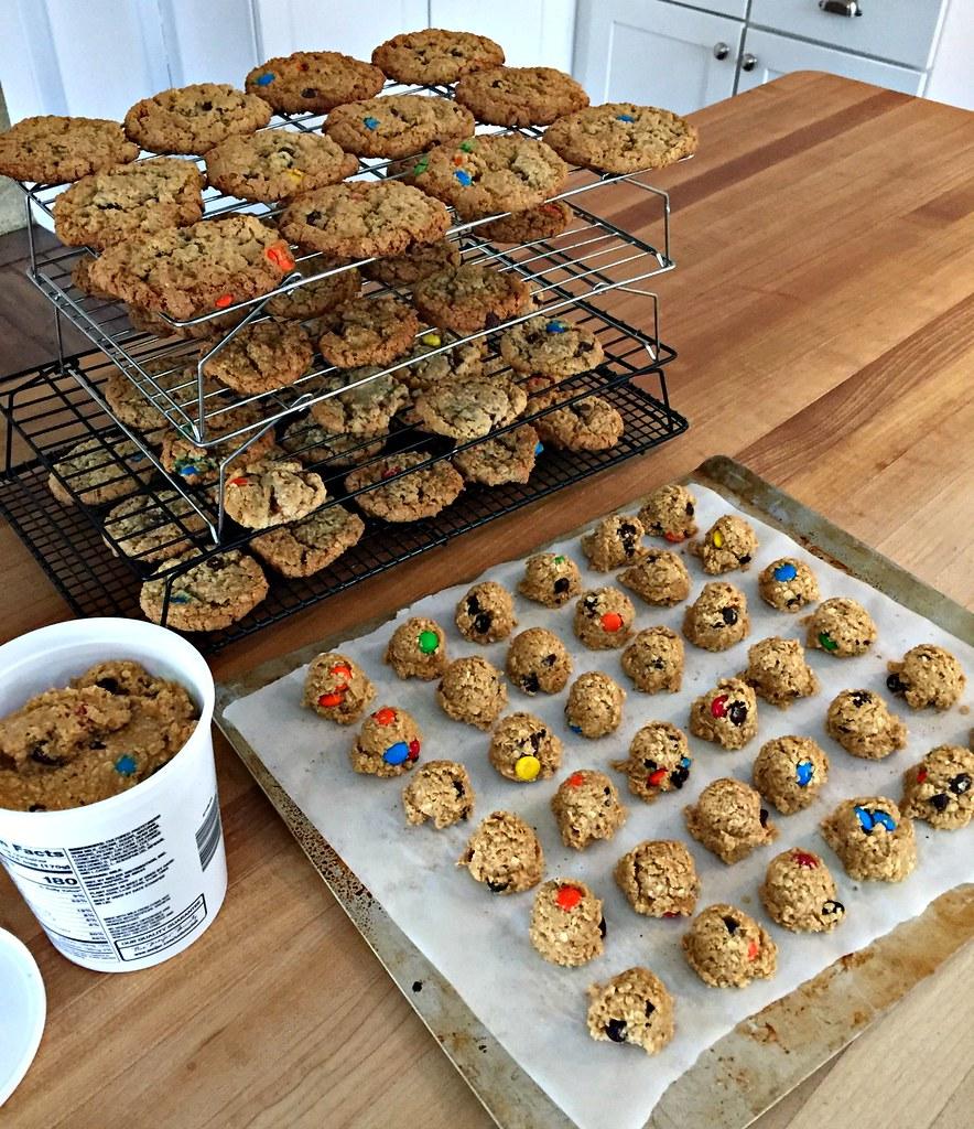 big batch of monster cookies