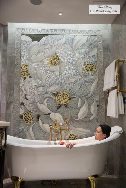 Soaking in the beautiful clawfoot tub