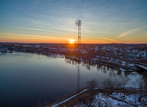 lowell massachusetts phantom3pro sethjdeweyphotography aerial drone evening sunset winter