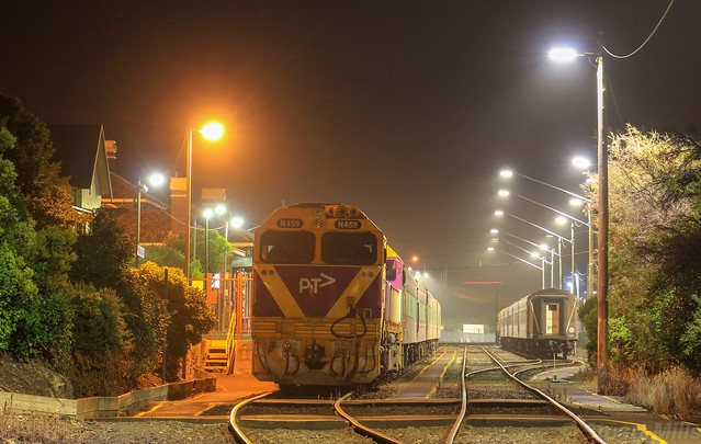 N459 has shutdown for the night at Warrnambool station after arriving with the night service
