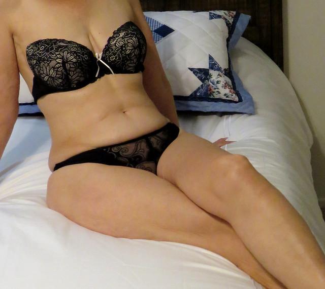 black lingerie beauty