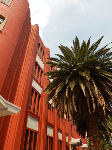 A palm tree in front of the orange walls of the Casino in Mexico City