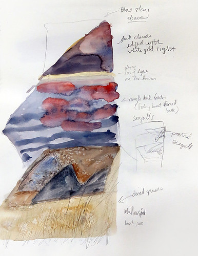 Watercolour sketch of Whiffen Spit on Vancouver Island