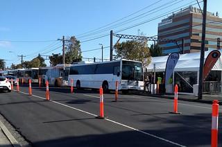 Buses queued at Caulfield during rail shutdown   by Daniel Bowen