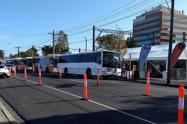 Buses queued at Caulfield during rail shutdown